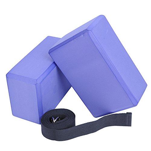 Veda Yoga Foam Blocks (Set of 2) Standard Studio Size 9  yoga blocks 2 pack and strap | Yoga Blocks 2 Pack and Strap Set Combo Review 41C8GZZlG0L