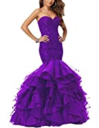 Eldecey Women's Mermaid Lace Applique Beaded Layered Ruffles Pageant Prom Dress