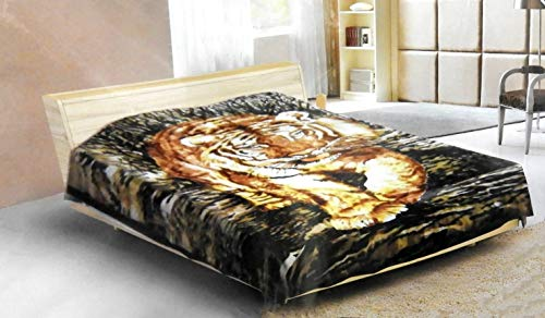 DINY Home & Style Heavy Plush Soft Mink Velvet Fleece Blanket Tiger Print Queen Size Bed Blanket 80