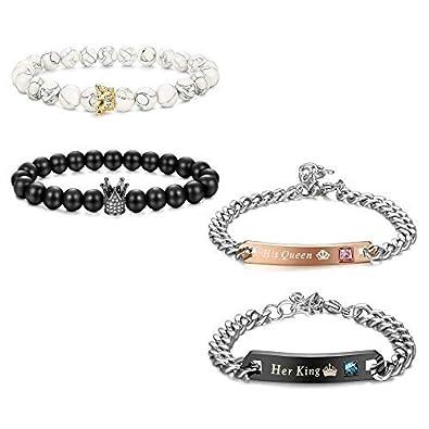 super qualité magasiner pour véritable réduction jusqu'à 60% Milacolato Roi & Reine Couronne Couple Bracelets Son Et La ...