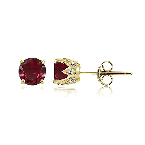 Yellow Gold Flashed Sterling Silver Created Ruby and Cubic Zirconia Accents Crown Stud Earrings ()