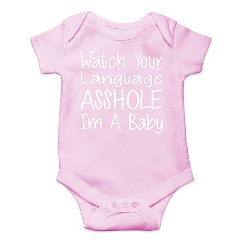 CBTwear Watch Your Language I'm A Baby Funny Romper Cute Novelty Infant One-Piece Baby Bodysuit (12 Months, Pink) -
