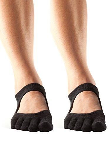 ToeSox Womens Full Toe Bellarina Grip Non-Slip Yoga Socks 2 Pack (Black, Medium)