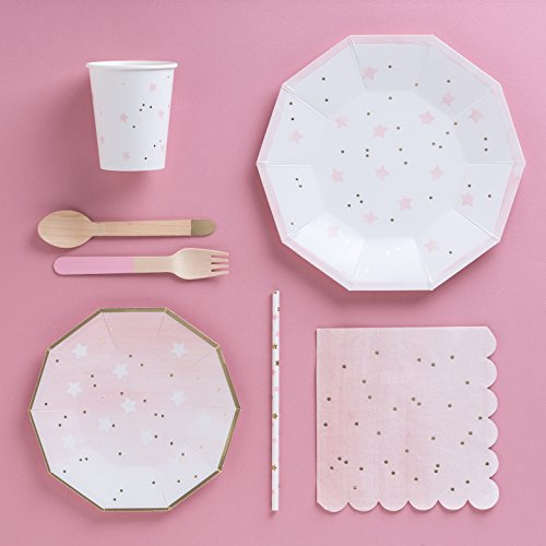 & Fire and Creme Stars Foiled Party Paper Plates Gold White Pink ...