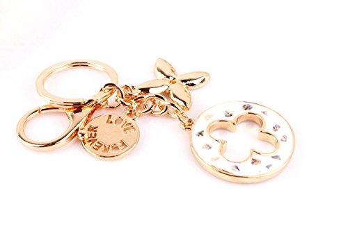 Nument(TM) Charms Four Leaf Clover Keychain Rose Gold Plated Swarovski Crystal Elements Women Car Keychain Handbag Decoration Gift Box Packed