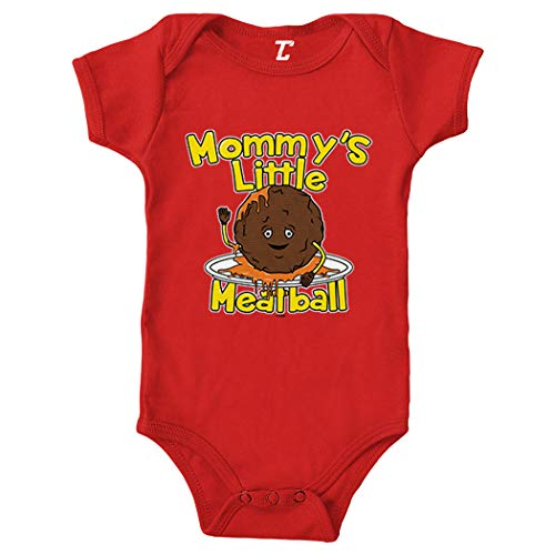 Mommy's Little Meatball - Funny Bodysuit (Red, 6 Months)