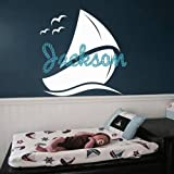 Wall Decals for Boy Personalized Name Decal Vinyl Sticker Boat Ship Nautical Nursery Bedroom Decor Home Art Murals Ah179