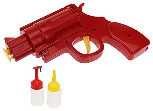 Mustard Condiment Dispenser Bottle - Red Condiment Gun (Mustard Dispenser)
