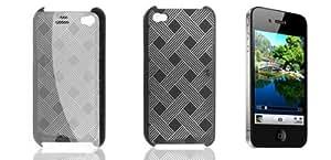 En plastique dur noir Weave Motif Shell Case w Screen Guard pour iPhone 4G 4