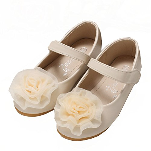 Always Pretty Little Girls Cute Ballet Ballerina Flats Princess Shoes With Flower Ivory 8 M US (Toddler Flower Girl Shoes)