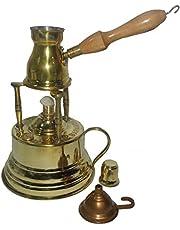 Brass Turkish Coffee Maker (Alcohol Burner) + Pot Ibrik 428 by ELBARAMONY