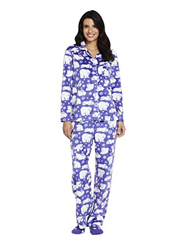 Karen Neuburger Women's Petite Long Sleeve Minky Fleece Pajama Set PJ, Bear Peri Purple/White, P/S