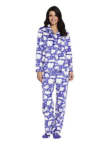 - Karen Neuburger Women's Petite Long Sleeve Minky Fleece Pajama Set PJ, Bear Peri Purple/White, P/S
