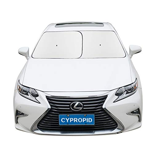 Cypropid Car Windshield Sun Shade 2-Piece Automotive Sun Blocker Foldable Front Window Sunshade, Suction Cup Design Never Slip, Fits Most Cars, UV Blocker and Heat Reflector. 31