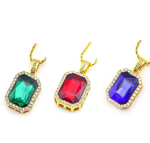 Fellocoo Square Ruby Red Gem Stone Pendant Charm Gold Rope Chain Necklace (3 Color - (3 Stone Gold Necklace)