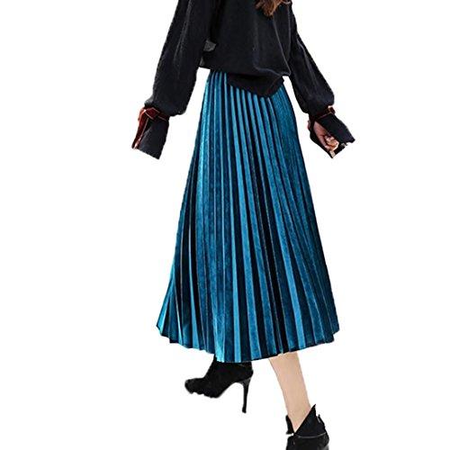 Tifus Dress Women's Vintage Luster Elastic Waist Velvet A-line Pleated Midi Skirt, A-blue, One Size