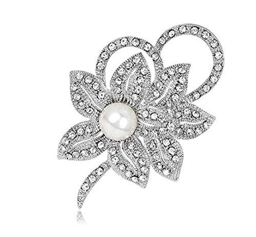 YOUYUZU Elegant Pearl Floral Bouquet Flower Wedding Crystal Brooch Pins for Women (Flower)