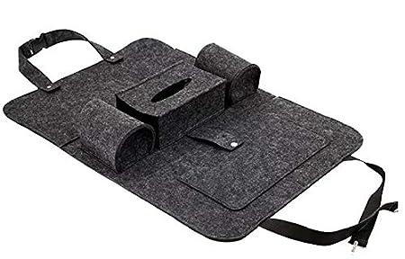 OLPOCBL Auto R/ückenlehnenschutz Organizer Auto R/ücksitztasche Autositzschoner aus Filz mit Spangen Verschluss und verschiedenen Stauraum M/öglichkeiten Dunkelgrau