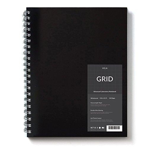 Vela Sciences Advanced Wirebound Lab Notebook, 9.25 x 11.75 inches, 144 pages (1-Pack, Grid)