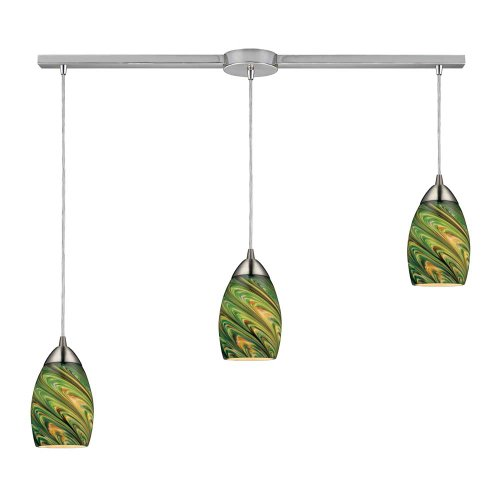Elk 10089/3L-EVG Mini Vortex 3-Light Pendant with Evergreen Glass Shade, 36 by 7-Inch, Satin Nickel Finish (Light Pendant 3 Vortex)