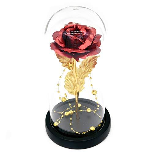Kit de Rosas La Bella y la Bestia, Hoja de Oro Rojo Rosa y luz LED con Cuentas de Oro en cupula de Vidrio en Base de Madera para decoracion del hogar Boda de cumpleanos Dia de la Madre
