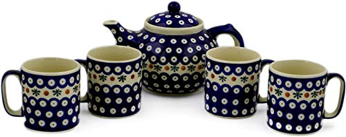 Polish Pottery 5-Piece Tea Coffee Set for Four (Mosquito Theme) + Certificate of Authenticity