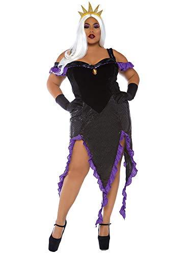 Leg Avenue Size Womens Plus Mermaid Sea Witch Halloween Costume, Black/Purple, 1X-2X -