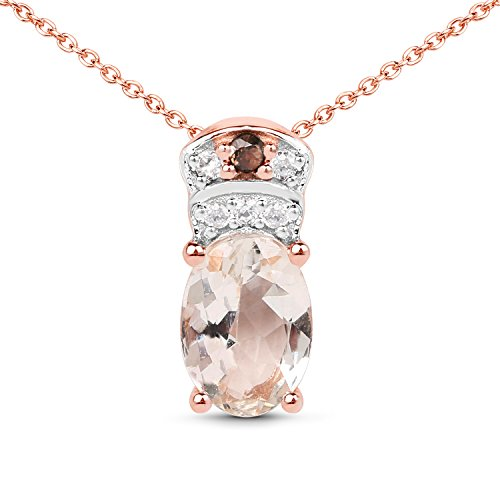 18k Rose Gold Pink Plated Genuine Morganite, Smoky Quartz and White Zirconia .925 Sterling Silver Pendant Necklace ()