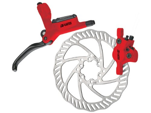 TEKTRO Draco Front Pre-Bleed Hydraulic Dic Brake w/160 Rotor, Red. (Hydraulic Front Brake)
