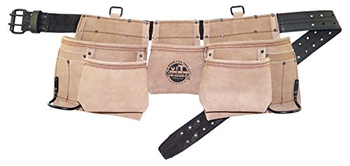 Graintex DS2003 11 Pocket Professional Suede Leather Work Apron with 2'' Leather/Webbing Belt Double Needle Roller Buckle by Graintex
