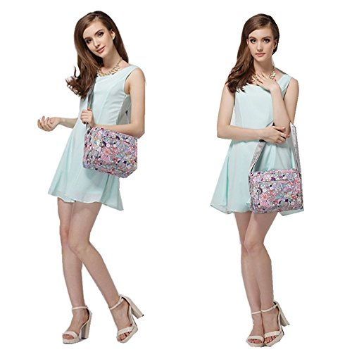 Dots body Oxford Pretty A Nylon resistant Water pockets Purse Multi Shoulder Cross Bag Floral Zipper Polka Melord w0a1qw