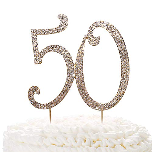 50 Gold Cake Topper | Premium Sparkly Crystal Rhinestones | 50th Birthday or Anniversary Party Decoration Ideas | Quality Metal Alloy | Perfect Keepsake fifty]()