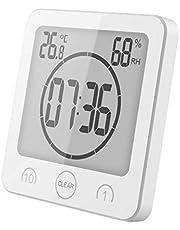 GuDoQi Minuteries Horloge Murale Thermomètre Intérieur Hygromètre pour Salle De Bain Douche Maquillage Cuisine