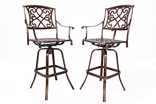 HOMEFUN Outdoor Swivel Bar Stools Cast Aluminum Bistro Pub Patio Bar Height Chairs (Bar table not (Aluminum Outdoor Bar Stools)