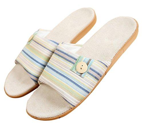Pantofole Da Donna Estate Pulsante Blubi Lino Casa Pantofole Comode Pantofole Da Donna Pantofole Aperte Blu