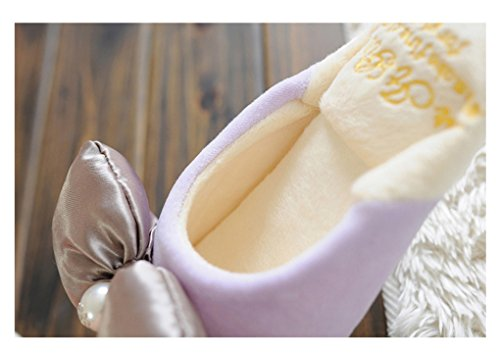 E.a@market Womens bowknot Plush Slipper Home Cute Princess Style Slipper Purple B2Xh28K