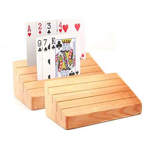 - Tebery Wooden Playing Card Holder | Rack | Organizer Tray Racks Organizer for Kids Seniors Adults (Set of 2)
