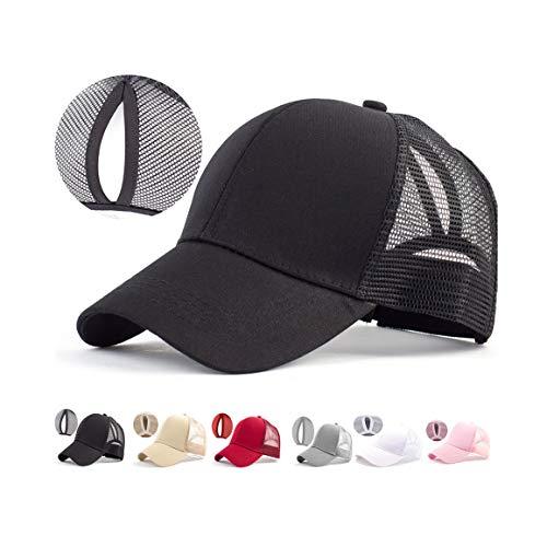 reputable site e0457 1b997 IZUS Black Bun High Ponytail Hat - Running Baseball Cap Adjustable Back  Mesh Snapback .
