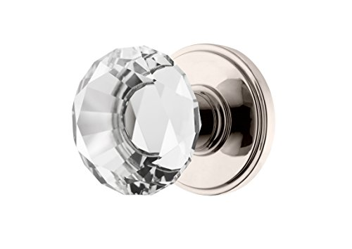 Decor Living, AMG and Enchante Accessories Diamond Crystal Door Knobs, Passage Function for Hall and Closet, Venus Collection, DK06L NKL, Polished Nickel (Knobs Pulls Canada And)