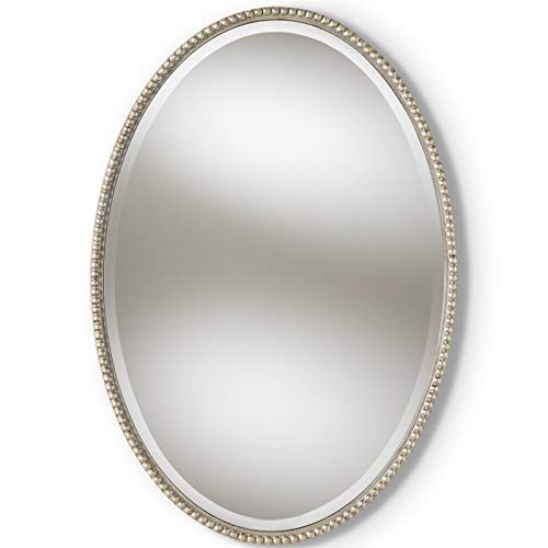 Baxton Studio Oval Accent Wall Mirror in Antique Silver Finish
