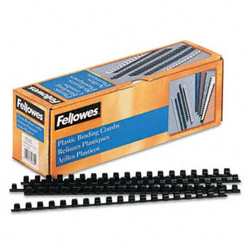 Fellowes 52325 Plastic Combs - Round Back 3/8 55 sheets Blac