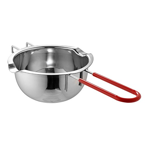 LI-GELISI 18/8 Stainless Steel Universal Melting Pot, Double Boiler Insert, Double Spouts, Heat-resistant Handle, Flat Bottom, Melted Butter Chocolate cheese caramel Homemade Mask =500ML (Silver) ()