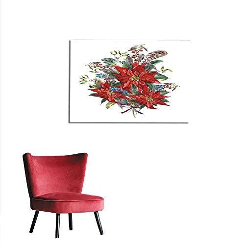 homehot Wall Paper Christmas Floral Greeting Card with Poinsettia Mural 32