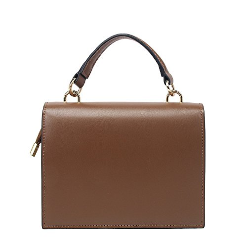 Retro Messenger Simple Cover Bag Square Brown Yiwuhu Bag Shoulder Practical Pu Lock Zxpwpgq51