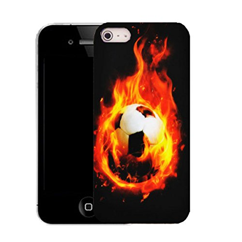 Mobile Case Mate IPhone 5S clip on Silicone Coque couverture case cover Pare-chocs + STYLET - fieery football pattern (SILICON)