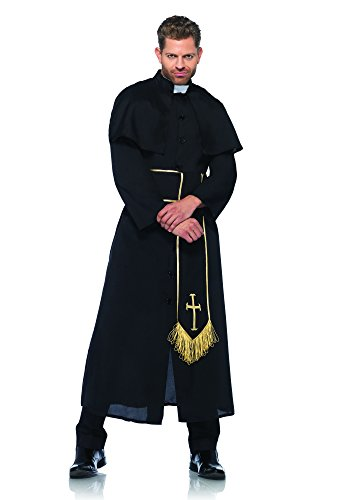 (Leg Avenue Men's 2 Piece Priest Costume, Black,)