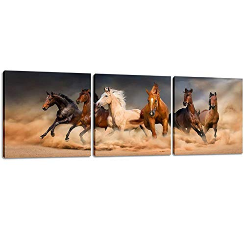 Horse Artwork - Inzlove Running Horse Animal Painting on Canvas Print Artwork for Home Decor 3 Pieces Wall Art Pictures
