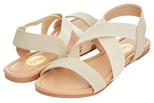 Floopi Womens Summer Criss Cross Slingback Elastic Strap Flat Sandal (10, Beige-507) (Front Slingback)