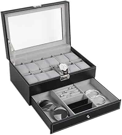 NEX Watch Box Mens, 12 Slots PU Leather Watch Case Organizer Jewelry Display Drawer Glass Top with Lock, Black