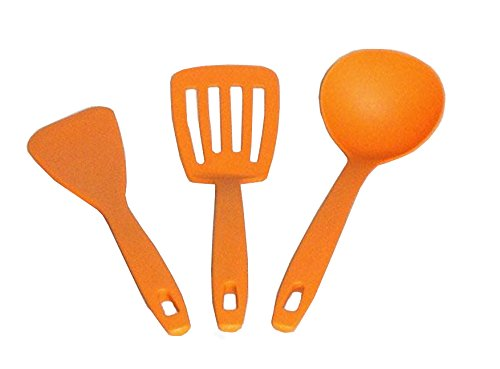 Pop & Cute Orange Kitchen Utensils Set of 3 - Ladle, Food Turner, Spatula